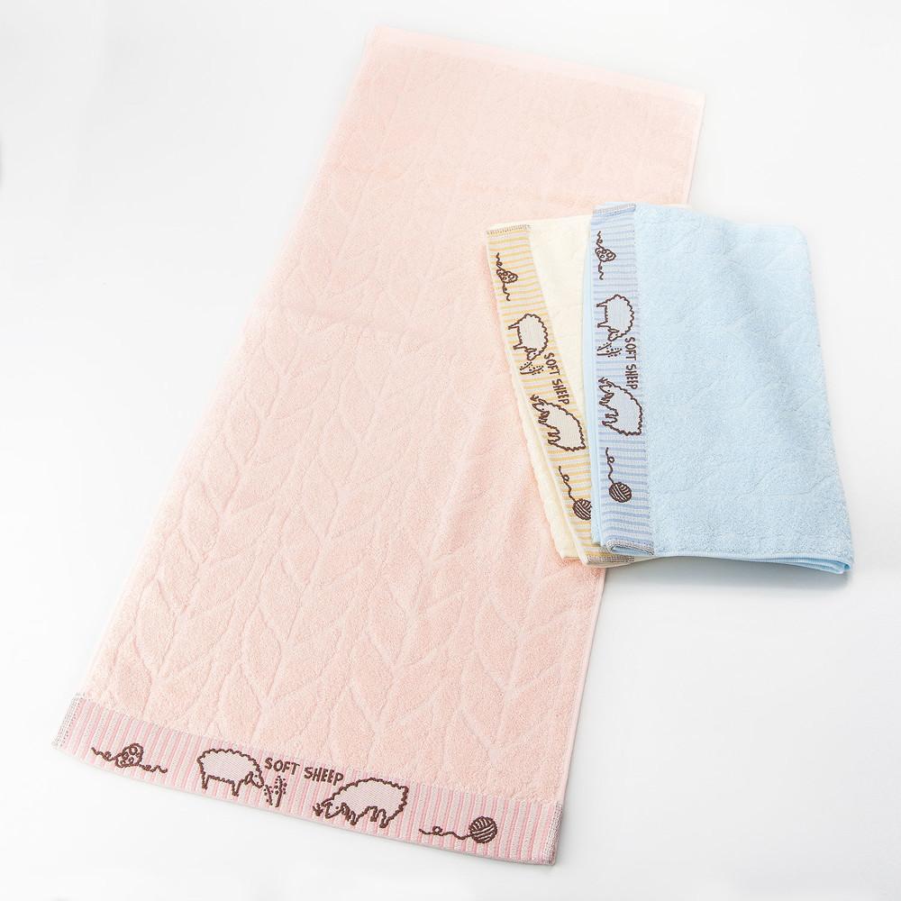 [台灣毛巾網]32支紗 soft sheep綿羊緹花毛巾(家庭號3入)