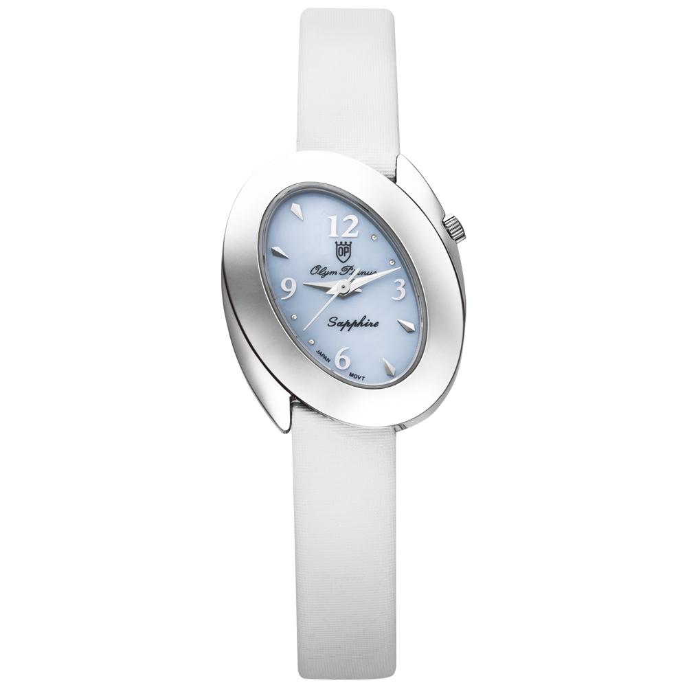 Olym Pianus 奧柏表 芳心之眼石英錶-粉藍白帶/22mm