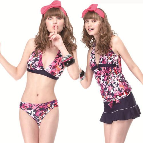 sain sou大女比基尼四件式泳裝附泳帽a94403