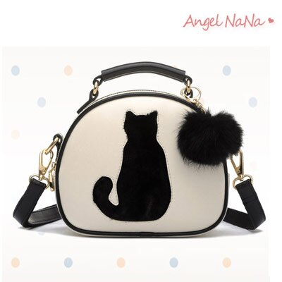 超取$399免運  高質感手提包 貓咪毛球可愛小圓包女斜背包AngelNaNa 【BA0210】