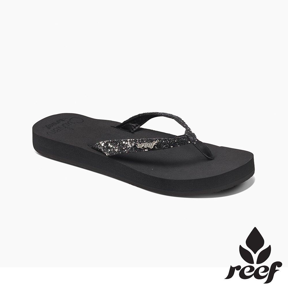 REEF 新軟Q系列 印花亮粉織帶 人體工學鞋床 女款夾腳拖 人字拖鞋  . 黑金屬 RF01392KGU