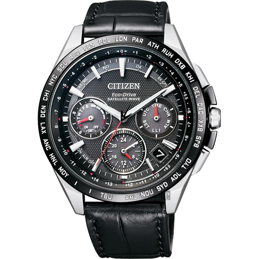 CITIZEN 星辰 金城武廣告款Eco-Drive 鈦 光動能GPS衛星對時錶-黑/43mm  CC9015-03E