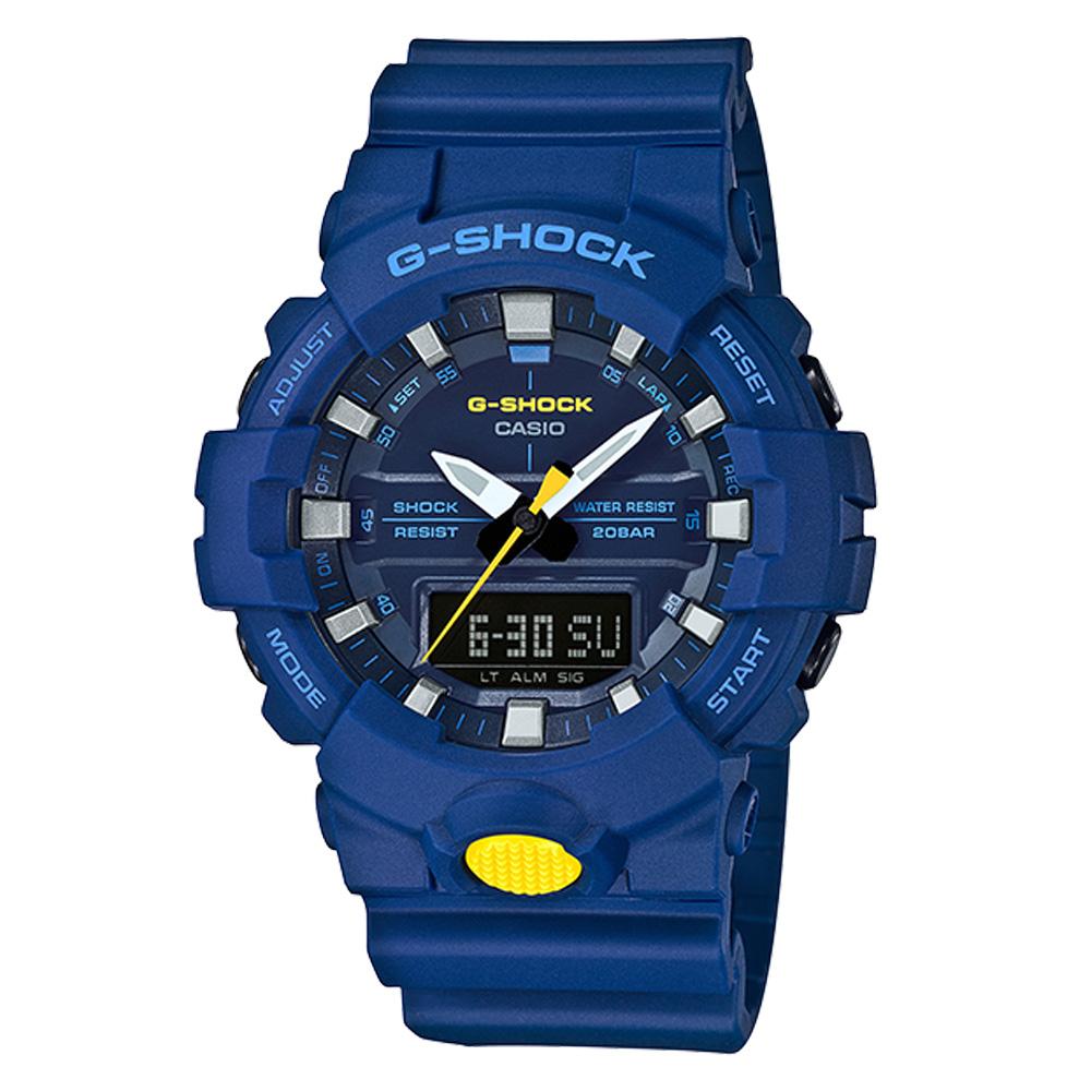 【CASIO 卡西歐】G-SHOCK 活潑撞色 運動雙顯男錶 樹脂錶帶  防水200米(GA-800SC-2A)