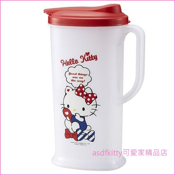 asdfkitty可愛家☆KITTY照鏡子紅蓋塑膠冷水壺-2L-日本製