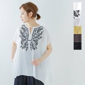 【30%OFF】Le Melange ル・メランジュ コットンボイルらくのう刺繍フレンチスリーブシャツ 6913210