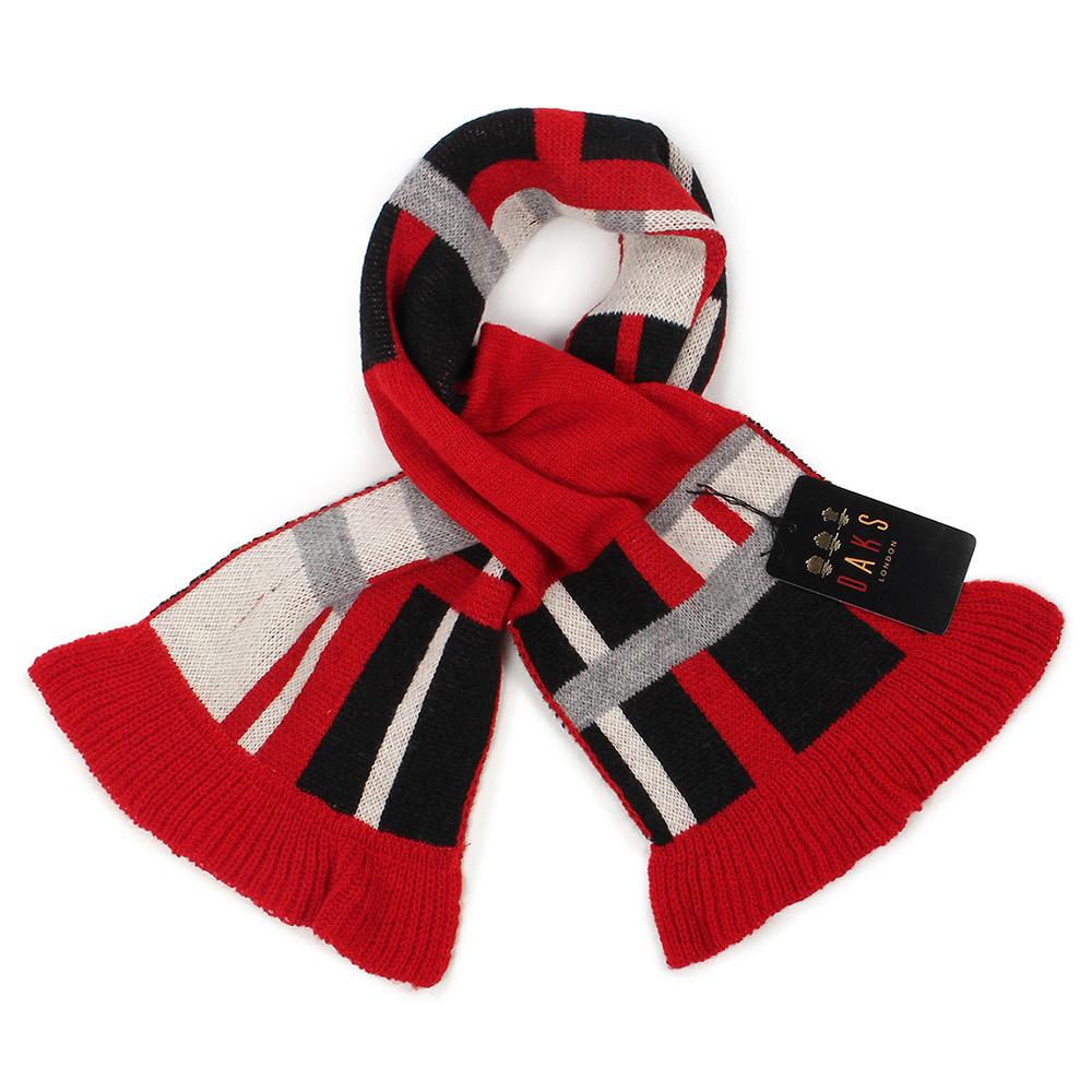 DAKS 經典格紋100%羊毛雙色圍巾-紅色 239337-4