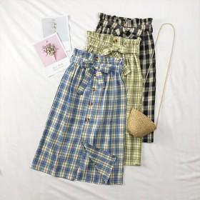 4季适用 韓国のファッション新作 ★ プリントハイウエストスカートAラインスカートの中でロングスカート ヴィンテージ