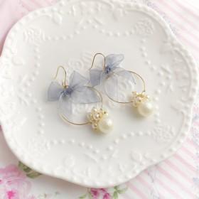 かわいいのどの真珠のリングリボン弓フックイヤリングまたはクリップイヤリング