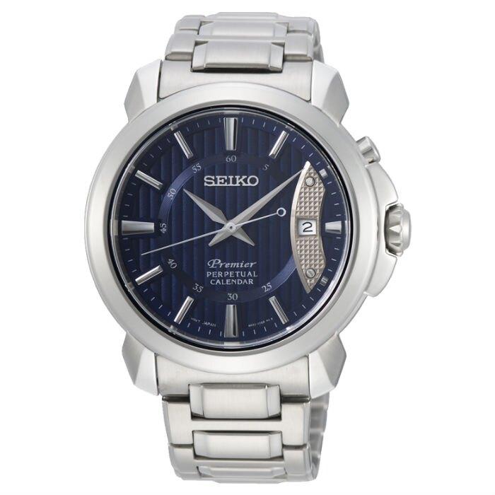 Seiko 精工錶 6A32-00Z0B(SNQ157J1) 石英萬年曆經典簡約腕錶/藍面 41.5mm