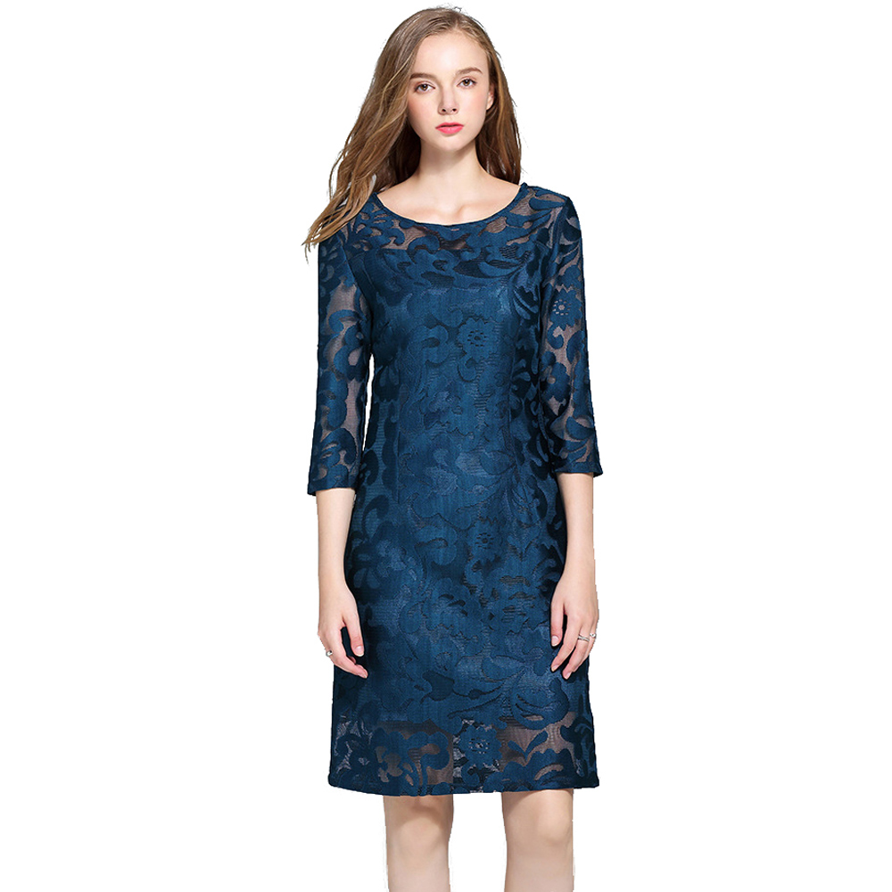 Olivia奧莉精品 氣質古典深藍七分袖蕾絲洋裝 L XL 2XL 3XL 4XL 5XL 連身裙 禮服 喜宴媽媽裝 免運