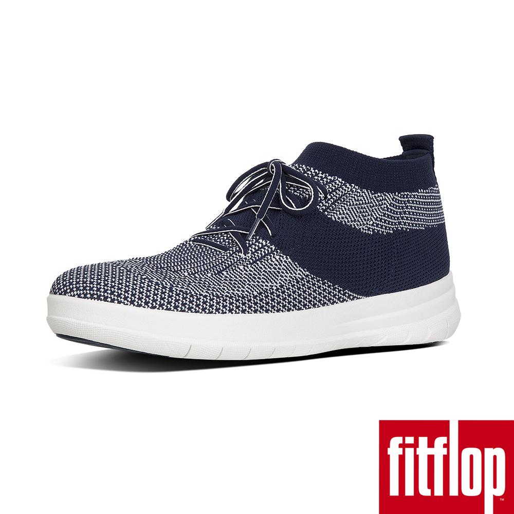 【FitFlop】UBERKNIT高筒休閒鞋藍白色