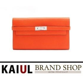 エルメス ケリー ケリーウォレットロング シェーブル オレンジ×シルバー金具 新品同様・未使用品/Sランク エルメス 財布 二つ折り 長財布