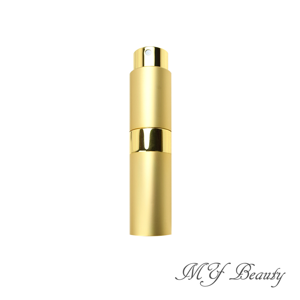 MYBeauty 時尚液體噴霧填充瓶 旅行分裝/隨身收納(玻璃管 旋轉收納款8ML - 金色奢華)