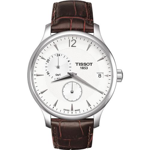 TISSOT天梭 Tradition GMT 二地時區經典腕錶-白/42mm T0636391603700