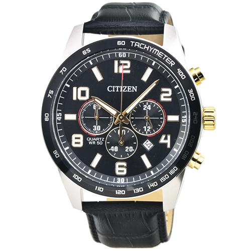 CITIZEN 星辰三眼運動皮帶錶-黑面 / AN8166-05E