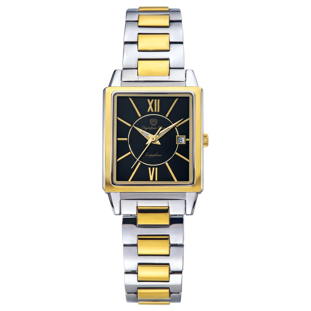 Olympia Star 奧林比亞之星 經典時尚羅馬方型腕錶 雙色 黑 25mm 58065LSK