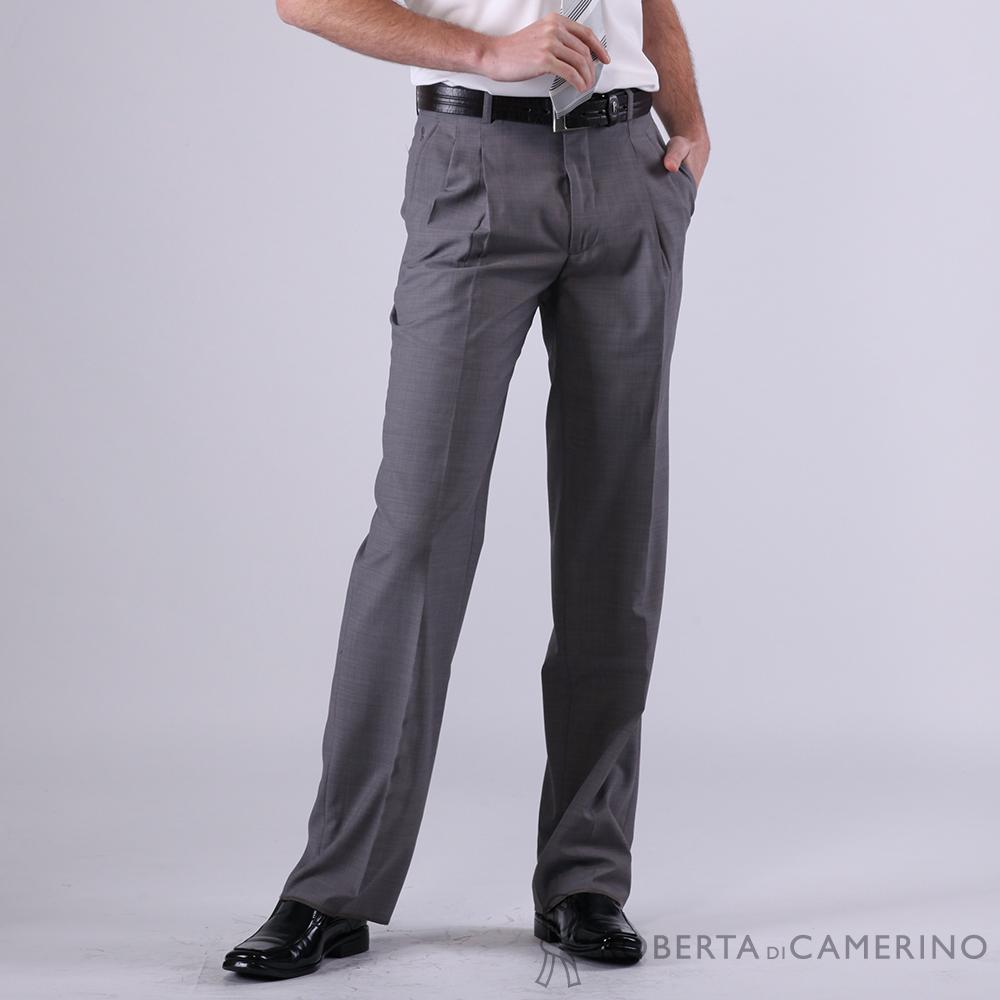 ROBERTA諾貝達 台灣製 休閒款 羊毛打摺西裝褲 灰色