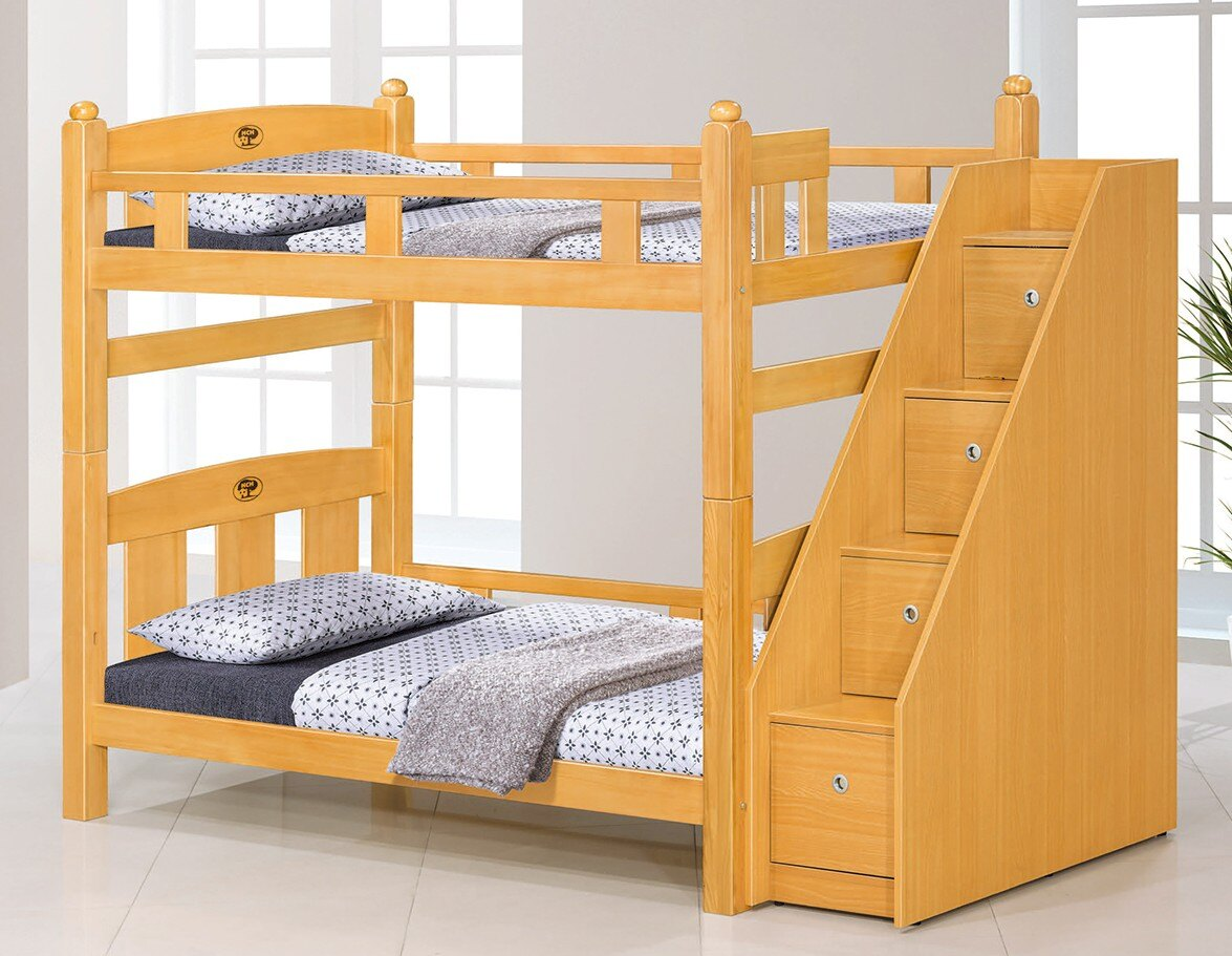 簡單家具,J420-1 葛萊美3.5尺檜木色雙層床(含收納樓梯),大台北都會區免運費