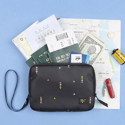【韓版】時尚清新大容量可手挽證件護照收納包(3色)