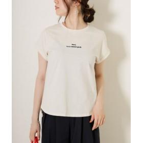 (Gready Brilliant/グレディブリリアン)MerciロールアップTシャツ/ロゴT/レディース ベージュ×ブラック