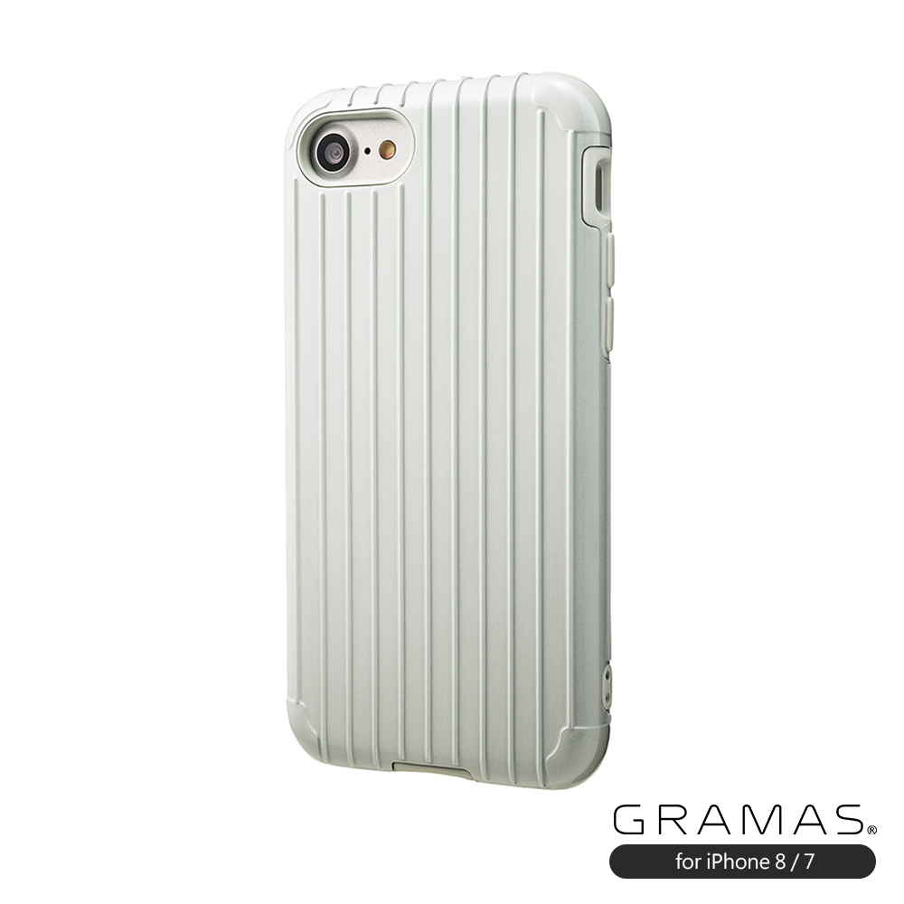 GRAMAS 東京職人工藝 iPhone SE第2代/8/7(4.7吋)專用 雙料2重保護抗衝擊行李箱手機殼 Rib系列 (白)