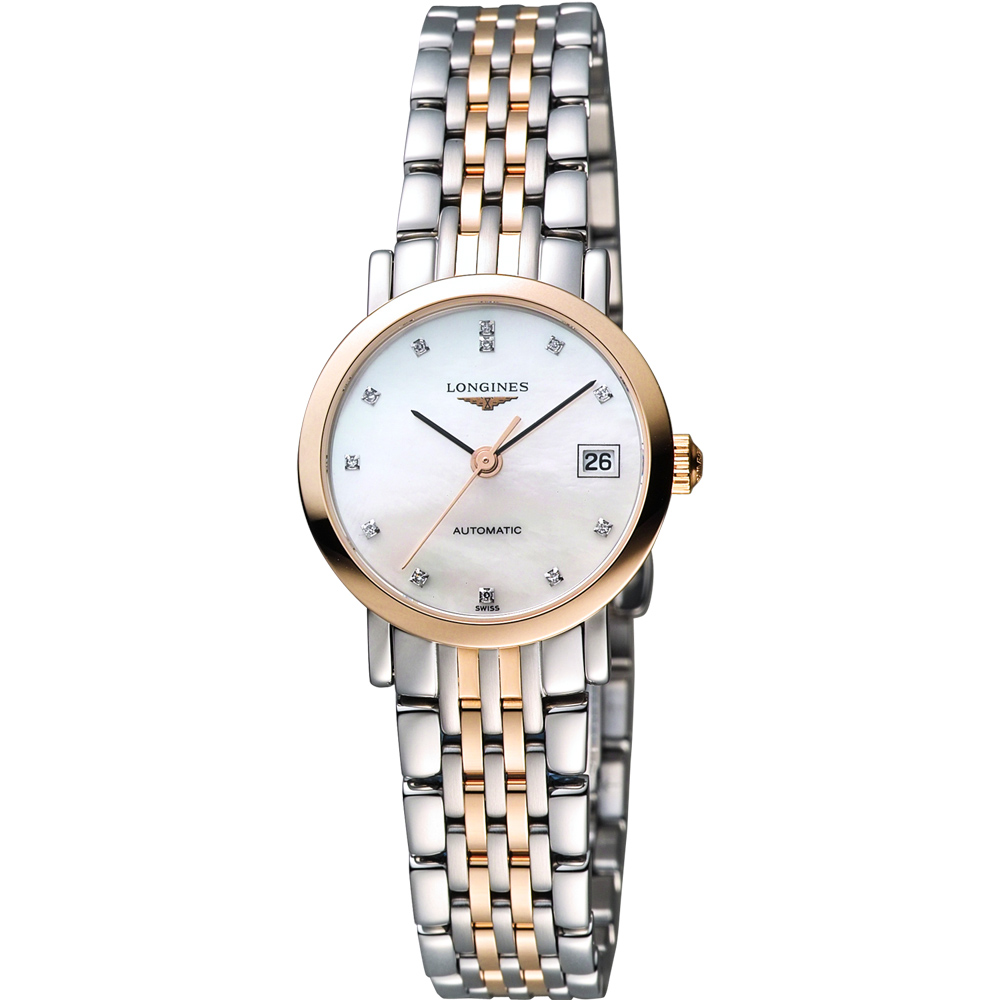 LONGINES 浪琴 Elegant Collection 真鑽機械女錶-珍珠貝/25mm L43095877