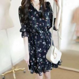 キャンディースリーブ 裾フリル 小花柄シフォンワンピース 五分袖 ミニ丈 かわいい 春夏 OP-0022