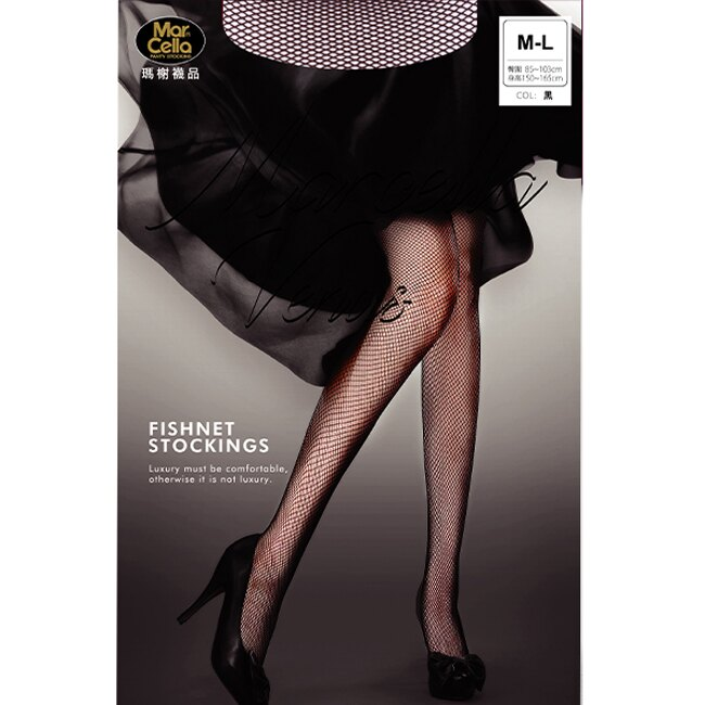 瑪榭無縫彈性網褲襪 MA-11636-黑 M