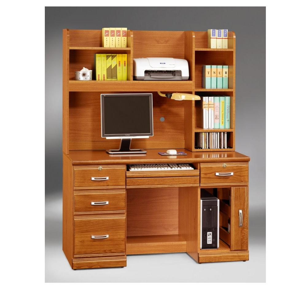 【MUNA】希爾達樟木色實木4.2尺電腦桌(全組)