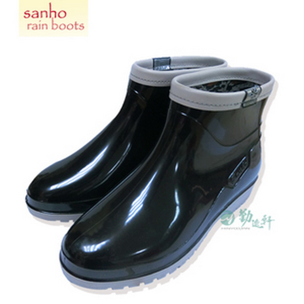 《Sanho三和牌》新點點造型短雨鞋/黑色