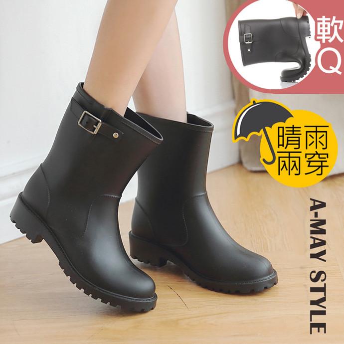 艾美時尚雨靴-金屬釦帶兩穿機車中筒靴