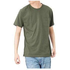 マックハウス Navy オーガニックコットン クルーネックTシャツ MH/03489SS メンズ カーキ L 【MAC HOUSE】