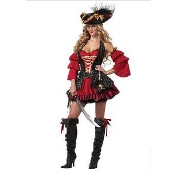 海賊 コスプレ ハロウィン コスチューム 仮装 赤×黒 制服 魔女 悪魔衣装 キャラクター パイレーツ コスプレ 海賊服 パーディー変装