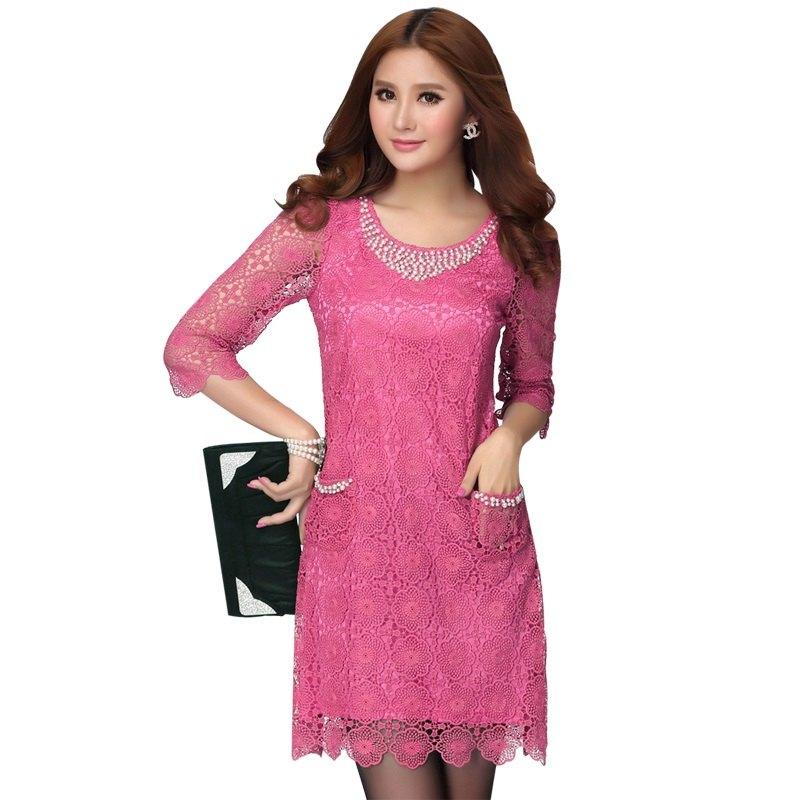 現貨紅L*鑲珠領鏤空性感蕾絲雕花五分袖顯瘦A字裙洋裝[2109-E]灰姑娘