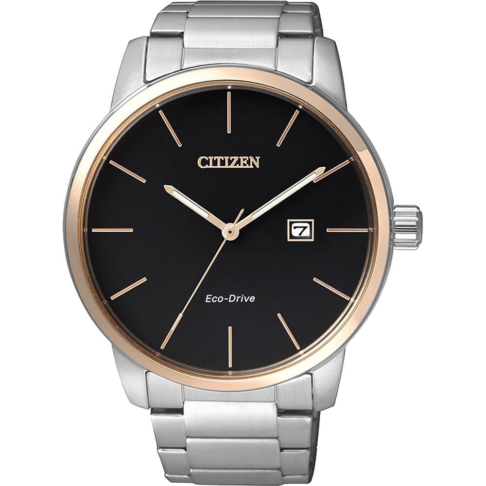CITIZEN 星辰 光動能都會腕錶-黑x玫瑰金框/43.8mm BM6964-55E