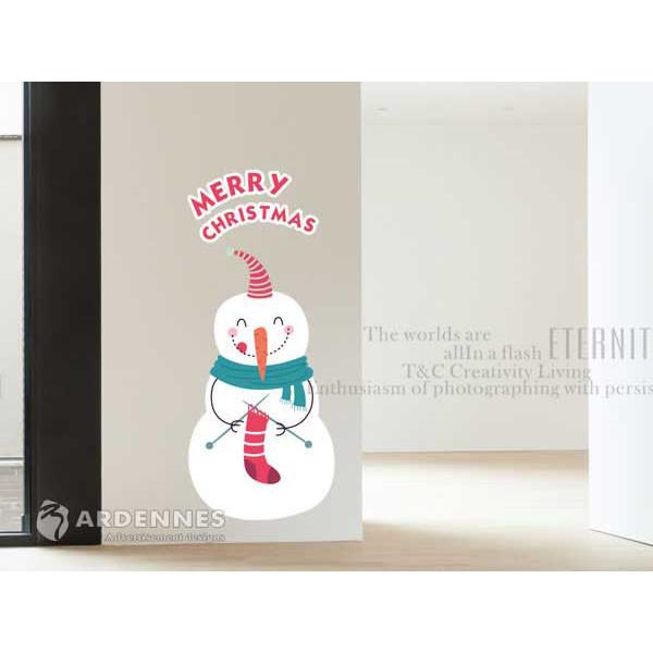 ardennes耶誕節慶佈置/壁貼 玻璃貼/mb007 雪人襪子