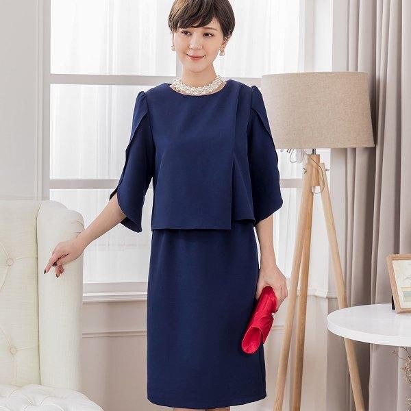 灰姑娘[88156-S]日式優雅交叉七分袖上衣+及膝裙套裝(上衣+裙)