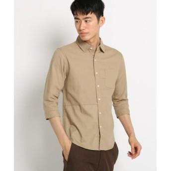 【60%OFF】 ザ ショップ ティーケー 切替パナマシャツ メンズ ベージュ(052) 01(S) 【THE SHOP TK】 【セール開催中】