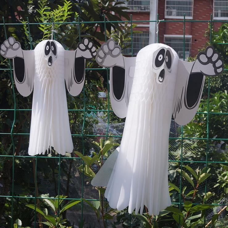 【立體幽靈吊飾】兩尺寸商場鬼節道具萬聖節恐怖立體幽靈吊飾吊鬼幽靈掛件裝飾用品紙幽靈 萬聖節