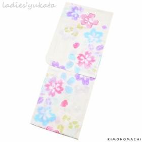 KIMONOMACHI 浴衣単品 絞り風桜 綿 レディース