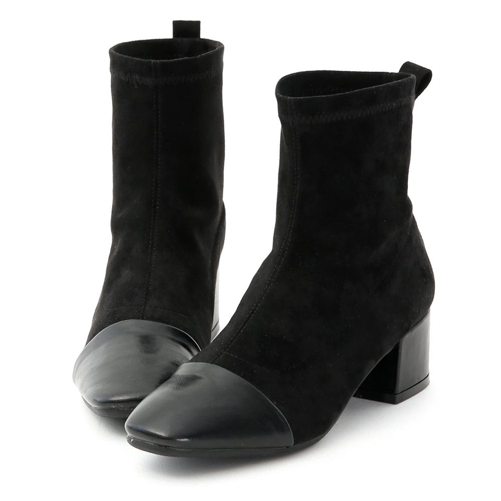 D+AF 名媛時尚.異素材拼接低跟襪靴