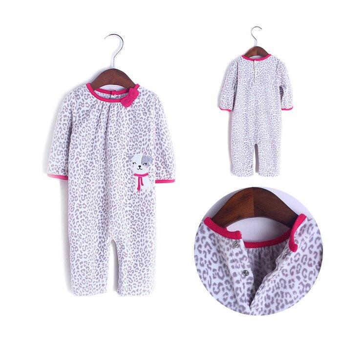 美國Carter's嬰兒衣服 童裝秋冬款 女寶寶搖粒絨哈衣 嬰幼兒長袖爬服 -灰色豹紋(6M-18M) [C1081]