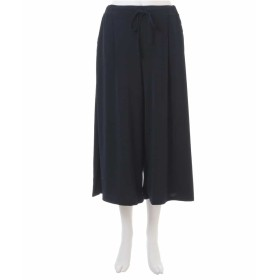 eur3 【大きいサイズ】【接触冷感】履くと涼しい!ドレープワイドパンツ その他 パンツ,ネイビー