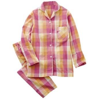 【レディース】 シャツパジャマ(綿100%) ■カラー:オレンジ系 ■サイズ:5L,3L,LL,L,M