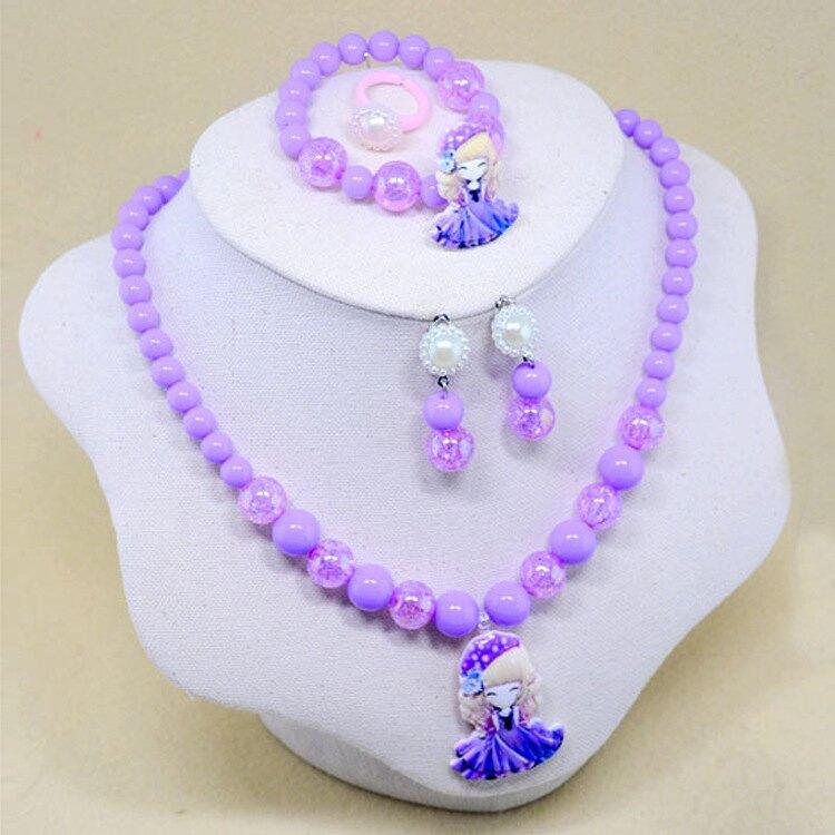 兒童首飾組--可愛女孩  兒童耳環  兒童項練  兒童手鍊  兒童戒指    AD3001-8---紫色款   飾品.耳飾.走秀.生日.禮物.王子與公主