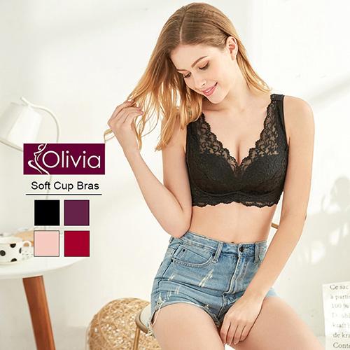 Olivia 法國進口精緻刺繡蕾絲無鋼圈聚攏內衣(黑色)