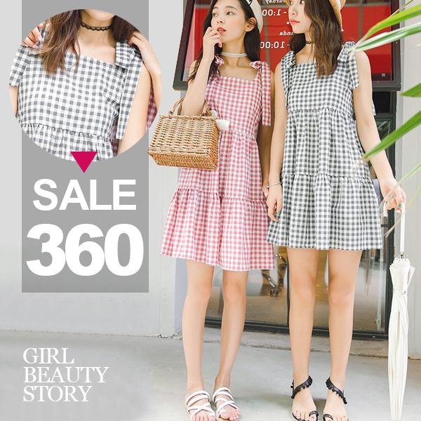 SISI【D8100】優閒甜心經典格紋吊帶綁結無袖寬鬆蛋糕層層舒適輕鬆連身裙洋裝(短款)