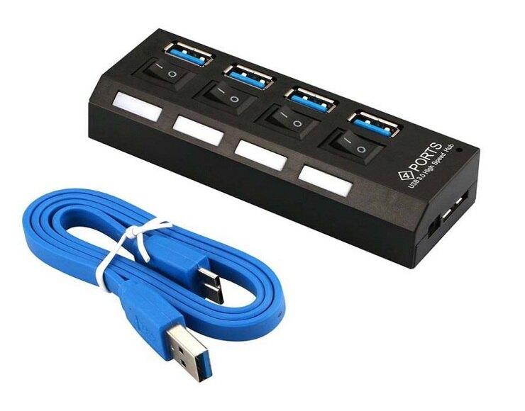 USB 3.0 4Port HUB 獨立開關 LED顯示燈 集線器 擴充 插座型 分線器 四槽【優錄安】