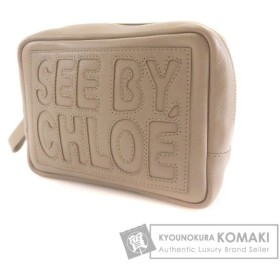 SEE BY CHLOE【シーバイクロエ】 ロゴデザイン アクセサリーポーチ レザー レディース 【中古】