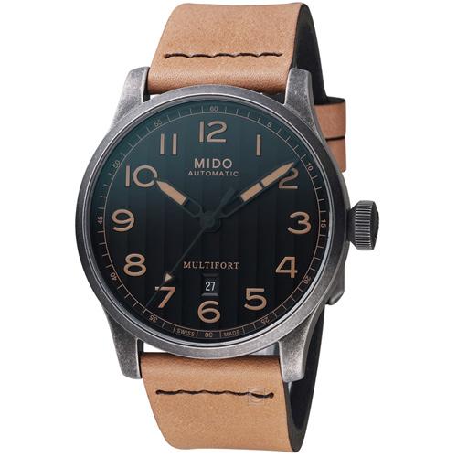 MIDO 美度 表Multifort先鋒系列Escape復刻Horween特別版腕錶  M0326073605099